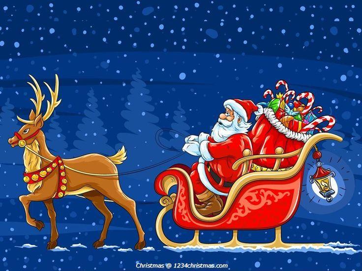 Santa Claus Reindeer Wallpaper Download | Santa Flying ...