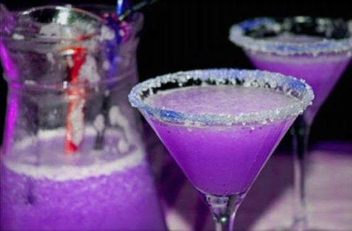 Purple Dragon Martini Recipe  e photo though…Ingredients:3oz vodka1 1/2oz cranberry juice (I used some with grape to help with the purple color)1/2oz blue Curacao liqueur1/2oz sweet and sour mix1/2oz of 7-Up2-3 ice cubesDirectionsMix all ingredients in blender or food processor for 20 to 30 seconds on high speed.Salt the rim of your martini glassPour and Enjoy