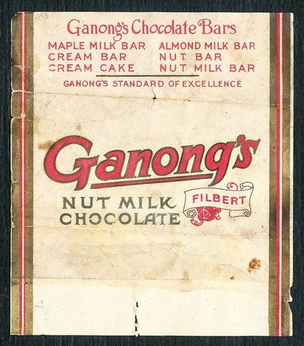 1910's GANONG'S Nut MILK Canada Chocolate Wrapper Vintage Old Candy Bar Package