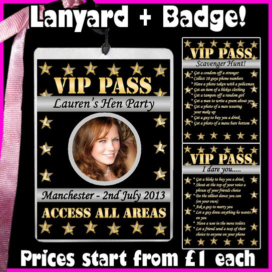 http://www.ebay.co.uk/itm/Personalised-HOLLYWOOD-Theme-VIP-Pass-Lanyard-Photo-Badge-Hen-Birthday-Party-/111113656947?pt=UK_Health_Beauty_Make_Up_Cosmetics_Foundation_PP==item5f813b0c83  PLEASE PIN IF YOU LIKE THIS :-)  Hen Party, Hollywood Theme, Party lanyard, Oscars, Dare card, scavenger card, L-Plates, birthday party