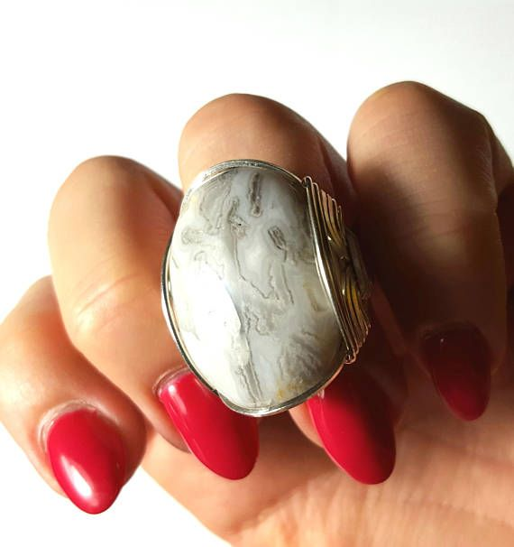Crazy Lace Agate Ring Size 8 8.5 9 Sizable Sterling Silver
