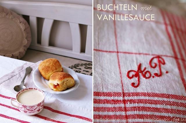gefüllte Buchteln mit Vanille-Sauce #Buchteln #Rezepte #backen