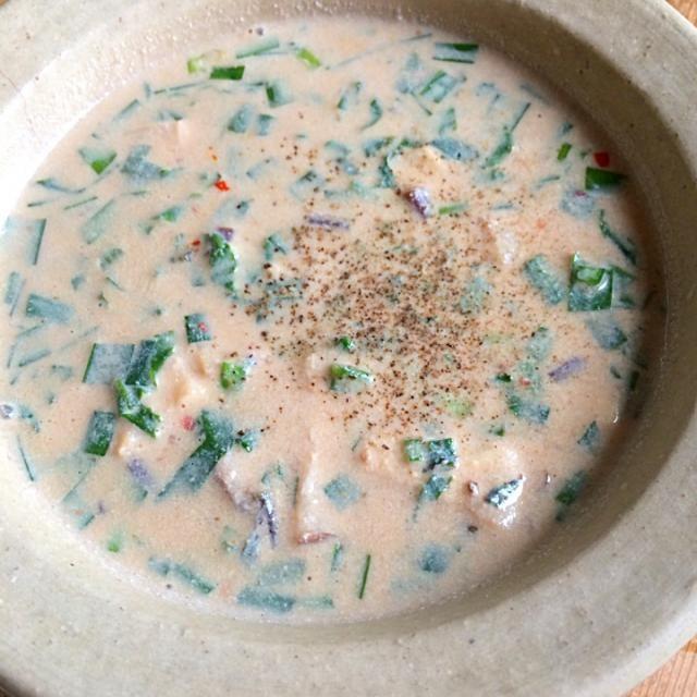 豆乳とツルムラサキのトロトロ味噌スープ‼︎ これで昼まで頑張れるか⁇ - 53件のもぐもぐ - 糖質制限ダイエットな朝ごはん‼︎ by giacometti1901