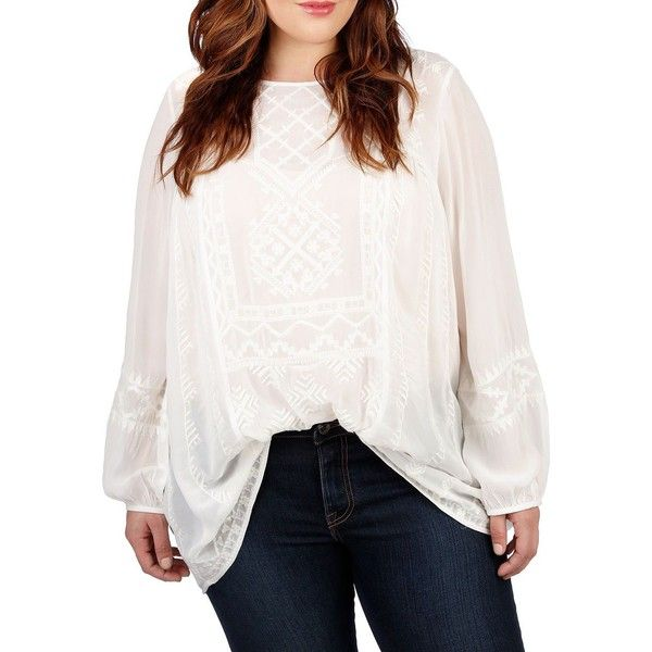 Lucky Brand Plus Plus Patterned Chiffon Blouse ($119) ❤ liked on Polyvore featuring plus size women's fashion, plus size clothing, plus size tops, plus size blouses, plus size, white, white blouse, plus size womens blouses, long sleeve chiffon blouse and plus size white tops
