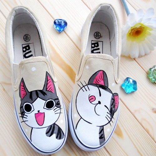 2013 lovers low pedal hand-painted shoes canvas shoes women's shoes single shoes cheese cat. SO CUTE!