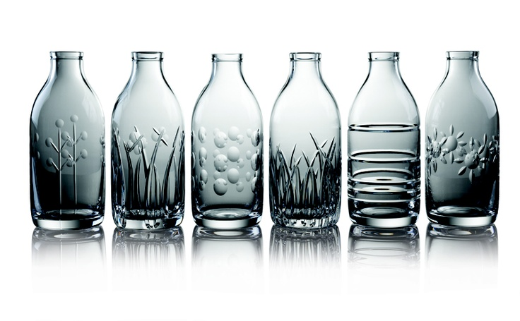 Cut Crystal Milk Bottles by Sam Sweet from miratis.com. Cut Crystal Milk Bottles are a beautiful reminder about the value of individuality. Each piece is hand blown and hand cut in 24% lead crystal, insuring that they are guaranteed to be reused unlike their mass produced counterpart.