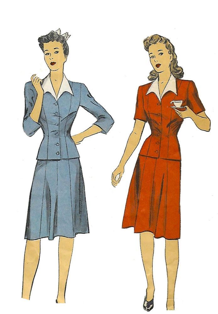 "Vintage 1940's Sewing Pattern Two-Piece Dress Suit Bust 40"" Word War 2 II #DuBarry"