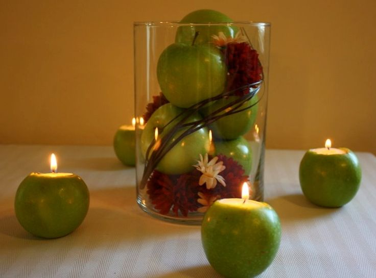 Green Apples Centerpiece Ideas With DIY Apple Candles