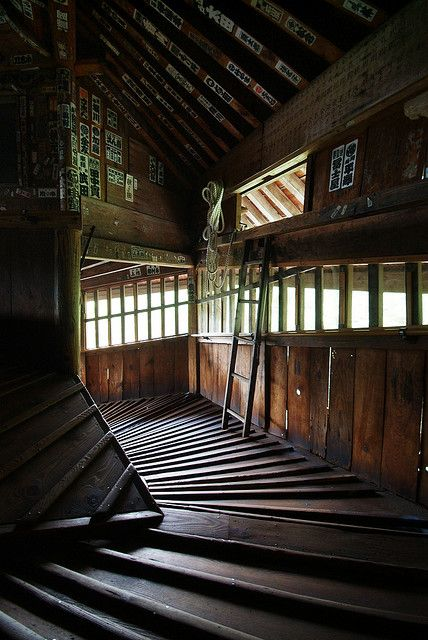 Aizu Sazaedo, Fukushima, Japan : Inside the stairless one of a kind temple in Aizu City, the floors run atop each other in such a way that you will never pass a person coming the opposite direction.