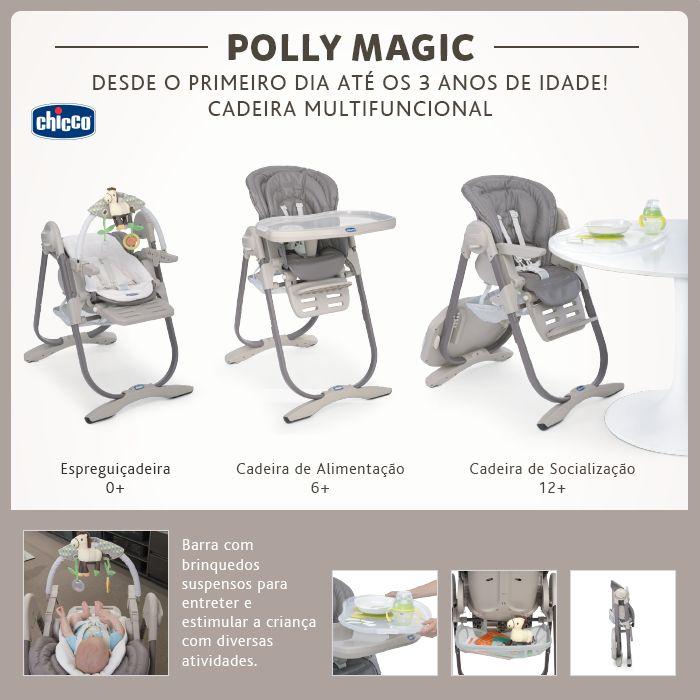 Versátil na medida certa, a Polly Magic é a cadeira multifuncional da Chicco que se transforma para acompanhar o crescimento do bebê, desde o primeiro dia em casa até os 3 anos de idade (aproximadamente). Quando recém-nascido, é uma espreguiçadeira aconchegante, aos 6 meses é uma cadeira de alimentação e aos 12 meses uma cadeira para jantar na mesa com a família! A Polly Magic é equipada com uma barra de brinquedos suspensos para entreter e estimular a criança em diversas atividades, (...)
