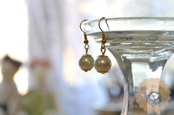 Glass Pearl Earrings with Gold Accents