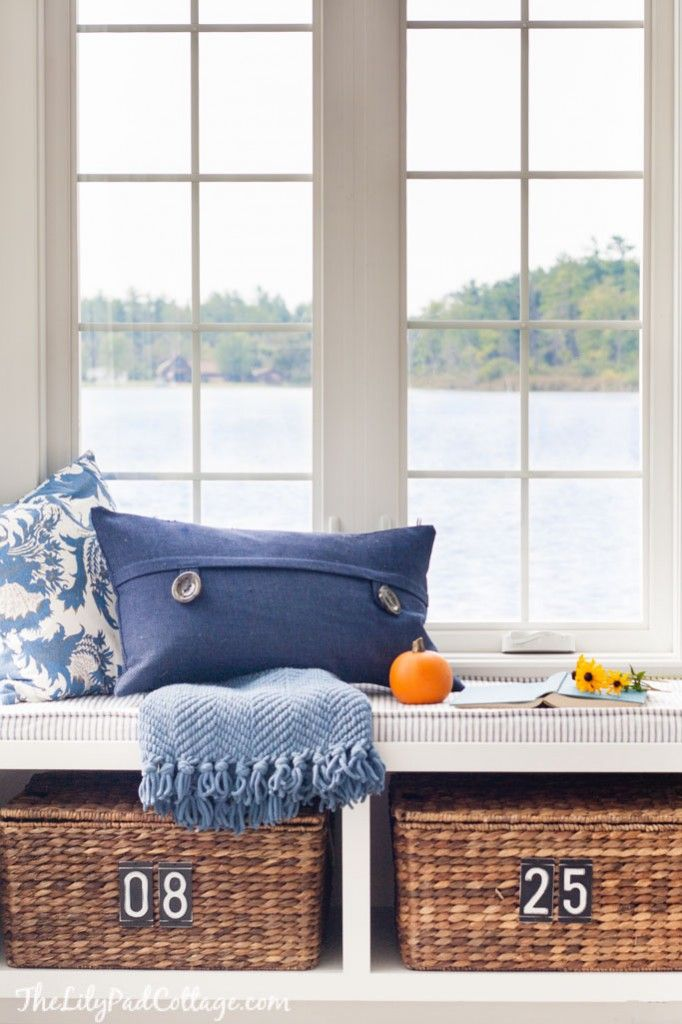 Repaint bench by door , replace baskets Eclectically Fall Home Tour - The Lilypad Cottage