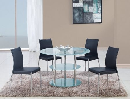 Image of D79DT+DB841DC-BL 5 Piece Dining Set With Frosted Glass Dining Table & 4 Casual Black Dining