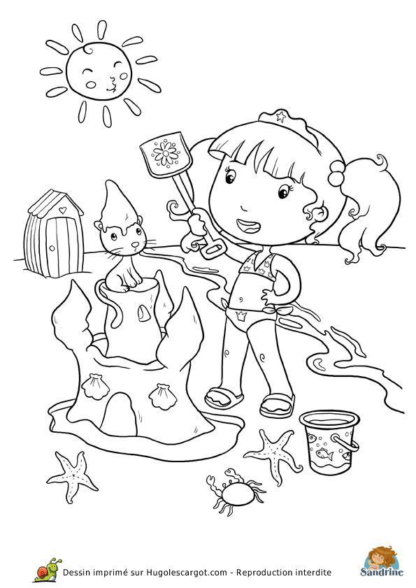 Coloriage de la princesse en vacances au bord de la mer