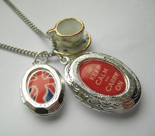 Keep Calm Carry On Locket Union Jack and Tea Cup Charm Necklace from Hoolala - Made in England