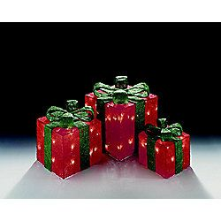 Set of 3 Light Up Light up Gift Boxes / Presents with Green Bows - Red Parcles