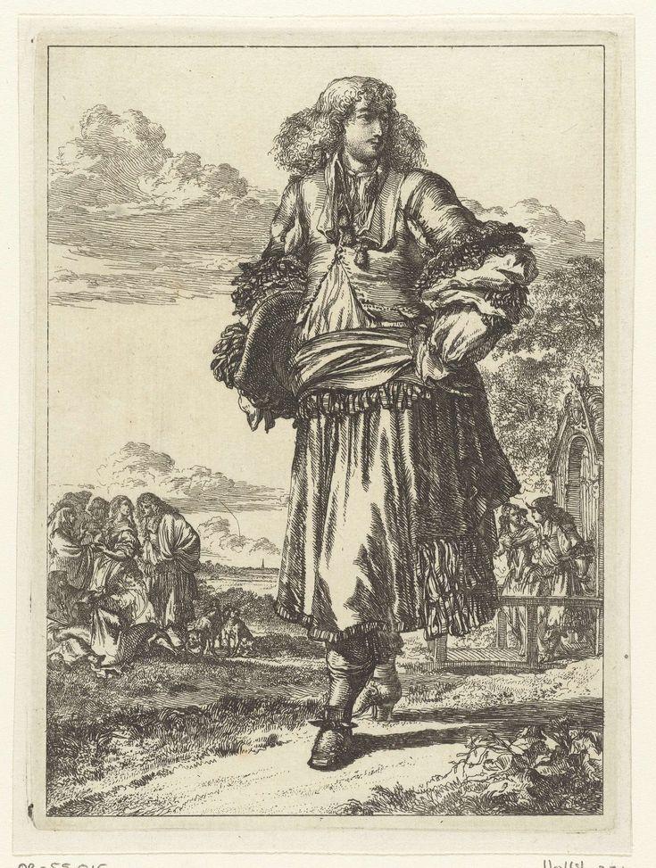 Romeyn de Hooghe | Figures à la Mode, Romeyn de Hooghe, 1670 - 1685 | Man in 'rhingrave' kostuum (met wijde 'broekrok' met linten) met een hoed onder zijn arm. Op de achtergrond mannen en vrouwen voor een huis. Nummer negen uit de serie 'Figures à la mode', een serie van twaalf kostuumprenten.