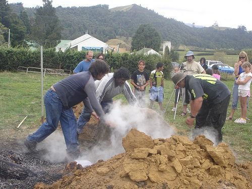 http://hangiguide.co.nz/ Hangi is the traditional Maori style of cooking food by steaming it underground. The flavour is unique and still practiced today. Hangi Camp 2008