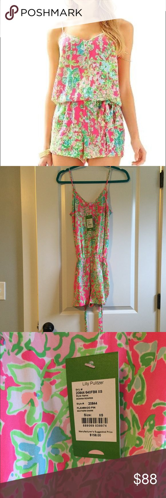 Lily Pulitzer flamingo pin romper Brand new adorable romper. The Deanna romper in souther charm print. Lilly Pulitzer Dresses