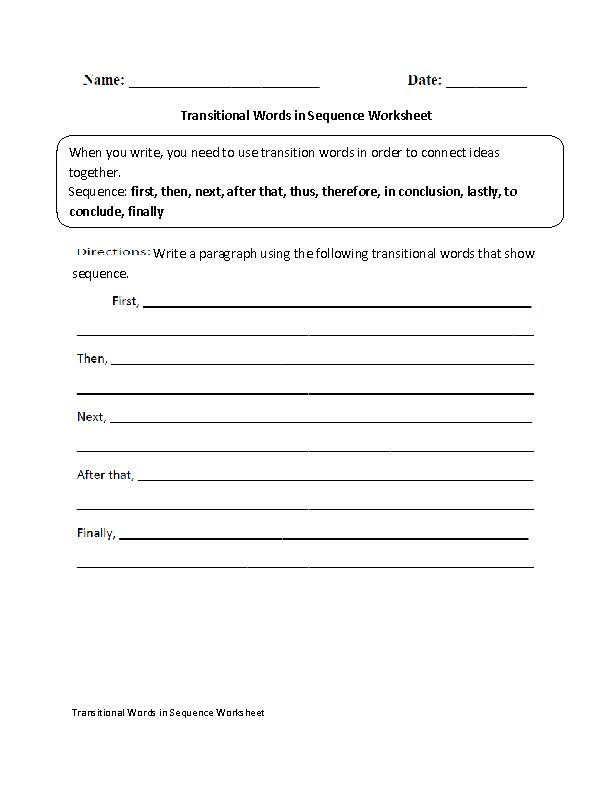 Transitional Words Writing in a Sequence Worksheet