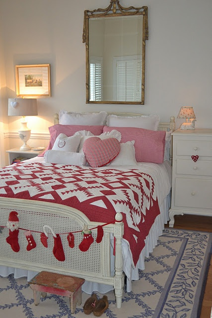 Reds and white (from Three Pixie Lane): Guest Room, Pixie Lane, A S Bedroom, Three Pixie, Swedish Country, Bedrooms Bright, Beautiful Bedrooms