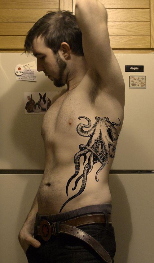 octopus tattoo not on my ribs, mayybe along my thigh
