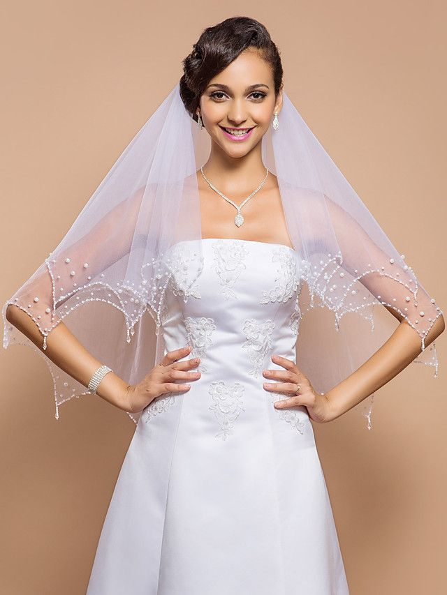 Two-tier Fingertip Wedding Veil With Beaded Edge & Pearls & Sequins - GBP £21.89