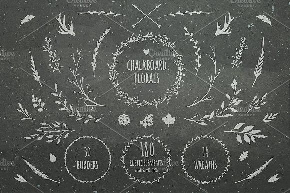 Chalkboard florals by harmonia_green_art on @creativemarket