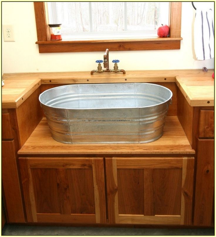 attractive Galvanized Kitchen Sink #1: Galvanized Bucket Sink | Galvanized Bucket Sink - Best Home Design Ideas  #q3kGJ0Gxje