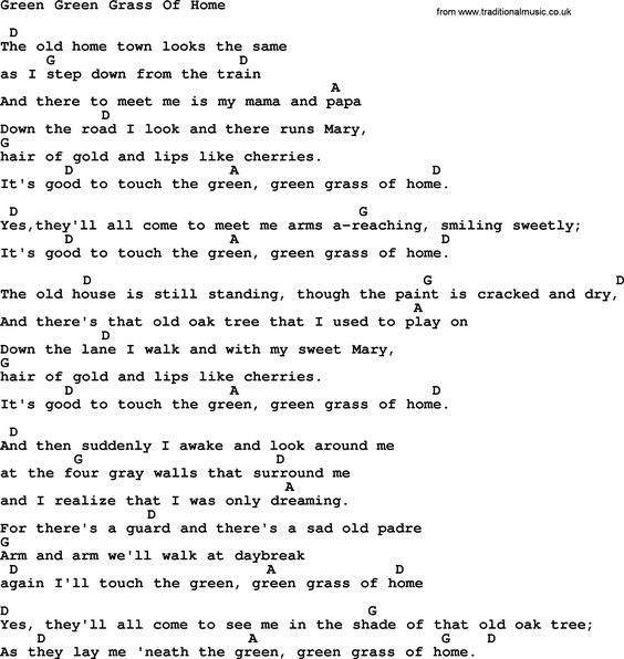 Johnny Cash song Green Green Grass Of Home, lyrics and chords