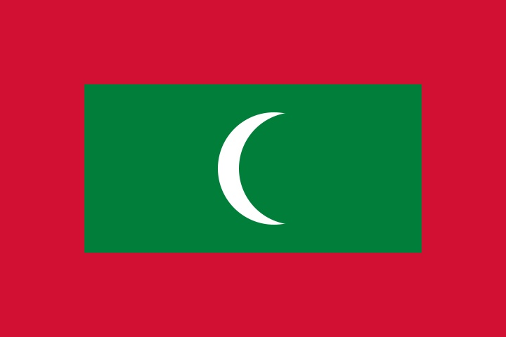 National flag of the Maldives from http://www.flagsinformation.com/maldives-country-flag.html  Red with a large green rectangle in the center bearing a vertical white crescent; the closed side of the crescent is on the hoist side of the flag.