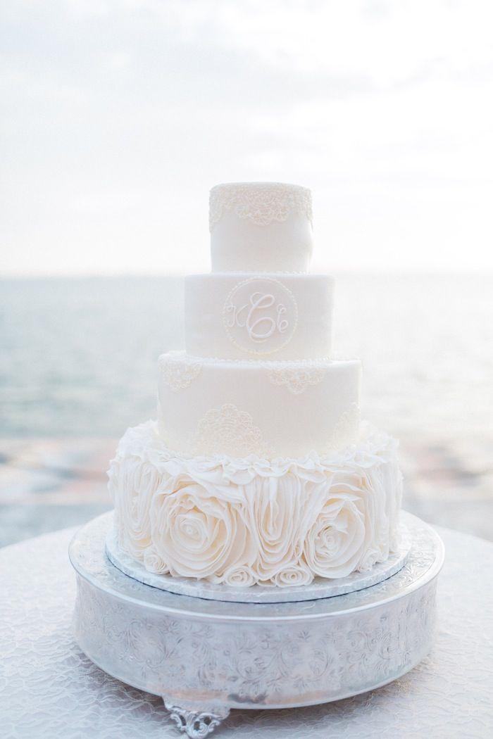white wedding cake idea; photo: Hunter Ryan Photo