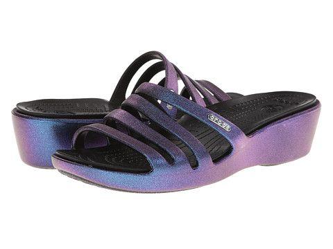 Crocs Rhonda Wedge Sandal Iridescent synthetic Aegean blue/black, raspberry  1.75heel sz7 40.00