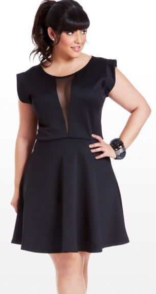 An elegant, skater lbd with mesh inserts. on The Fashion Time  http://thefashiontime.com/perfect-plus-size-little-black-dress-every-occasion/#sg12
