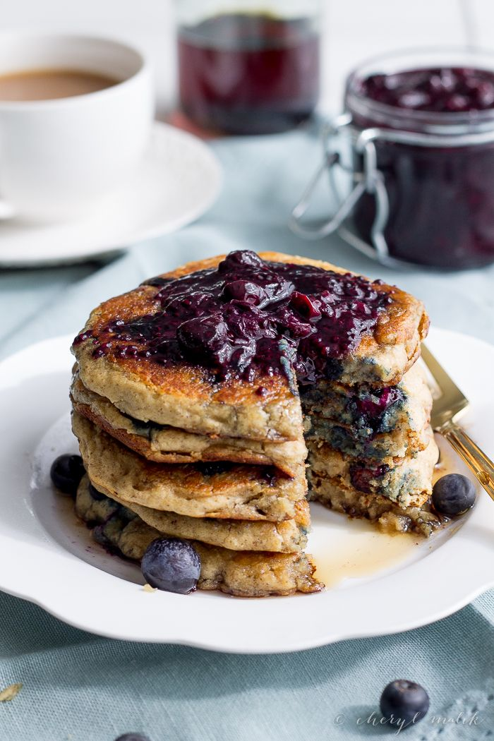 Blueberry Oatmeal Pancakes (Vegan, Gluten Free) #BreakfastForDinner