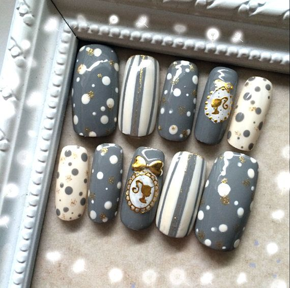 Polka Dots nail, Striped nail, Japanese nails, Vintage Doll, Fake nail sets…