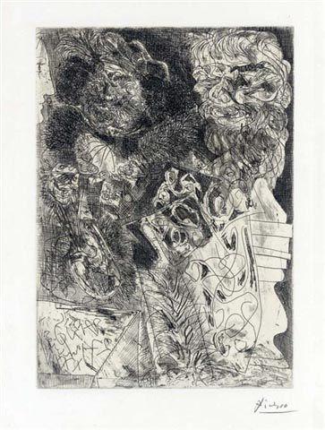 Rembrandt a la Palette1934Etching17.5 x 13.25 inches (44.19 x 33.65 cm)Edition of 50SignedPicasso Bloch no. 208, Vollard Suite no. 34