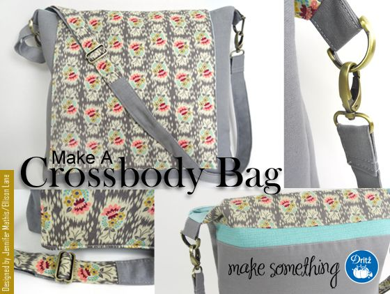 Sewing Tutorial: Make a Crossbody Bag using functional Dritz Purse Hardware (matching swivel hooks, D-rings and slide adjusters).