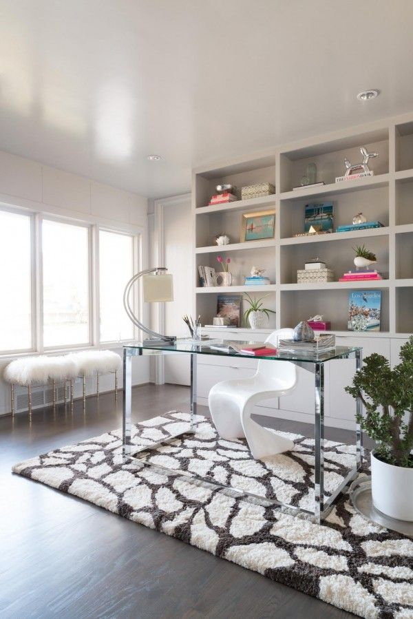 Loloi Rug in a home office. home office. home decor and interior decorating ideas. built in bookcases