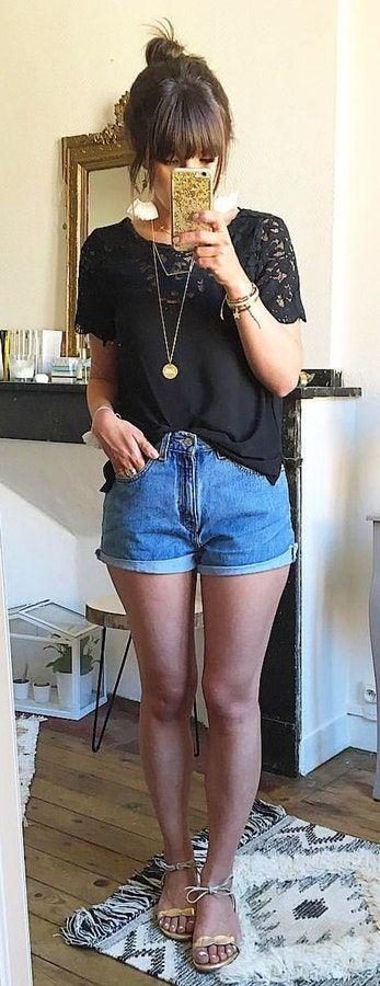 #summer #outfits  Black Lace Top + Denim Short + Metallic Sandals