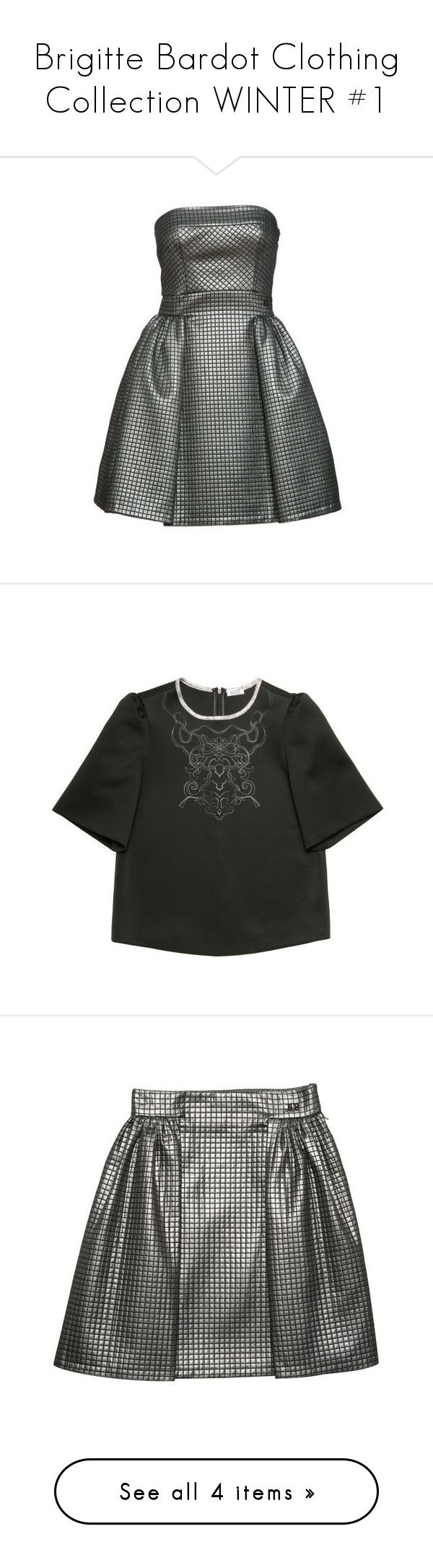 """""""Brigitte Bardot Clothing Collection WINTER #1"""" by chanco ❤ liked on Polyvore featuring dresses, skater dress, silver dresses, silver skater dress, tops, embroidery top, green top, embroidered top, skirts and silver skater skirt"""