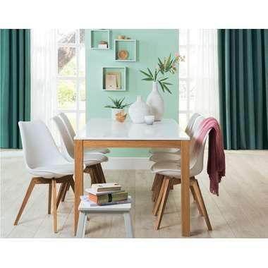 Leenbakker. Eetkamertafel Fresh. Hoogte 75 cm, vraag is hoe hoog vrije ruimte onder tafelblad is. Sfeerplaatje is mooi, maar tafel blijkt niet fraai. / goedkoop.