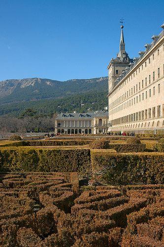 Gardens at El Escorial monastery, San Lorenzo de El Escorial, near Madrid, Spain