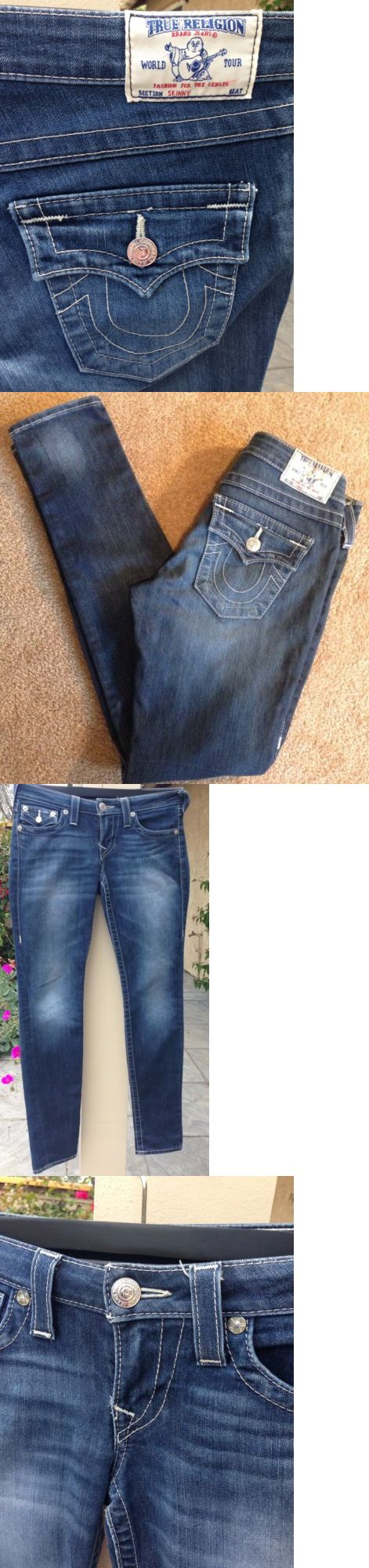 Jeans 11554: True Religion Jeans Skinny W Flaps Womens Sz 27 Pencil Leg Dark Blue #112790 -> BUY IT NOW ONLY: $43 on eBay!