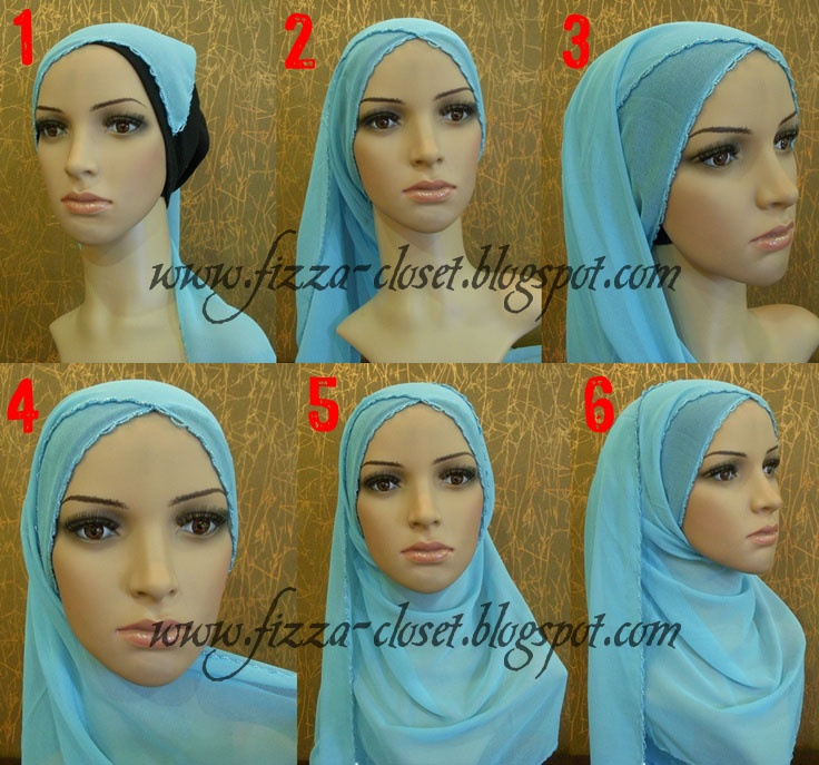 Simple criss-crossing hijab scarf style... picture tutorial.