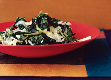 Swiss Chard sauteed with Onion  Made this tonight - you can shorten the prep time by cutting the chard while the onions cook.  also i just used extra olive instead of butter.
