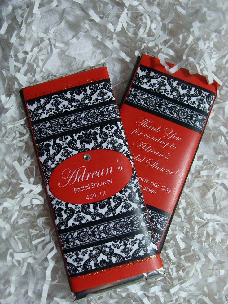 Black and White Damask Candy Bar Favor with Red Accent (Pick your Accent Color). $1.99, via Etsy.