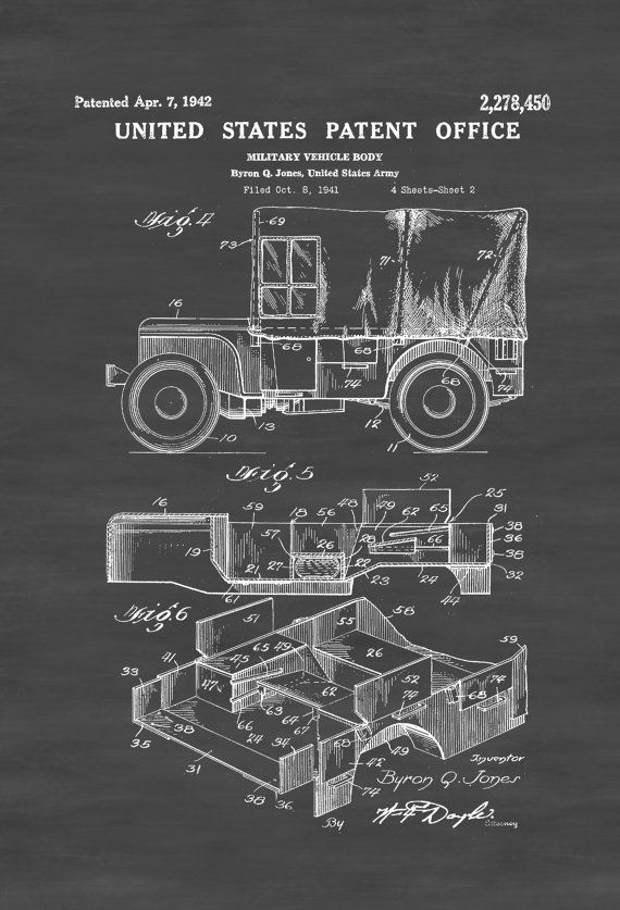 Covered Willys Military Jeep Patent Print Wall Decor Automobile Decor Automobile Art US Army Army Gift Military Gift Veteran Gift by PatentsAsPrints