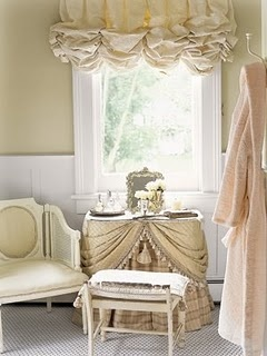 sweet little skirted vanity and balloon  shade