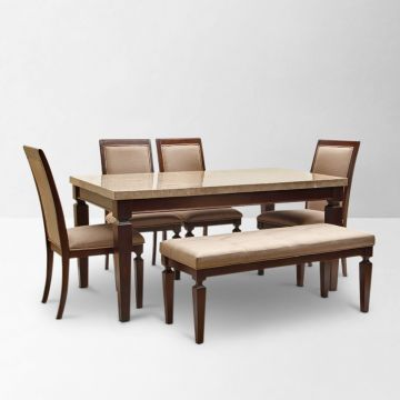 HomeTown Bliss 6 Seater Dining Set With Bench Beige And Brown